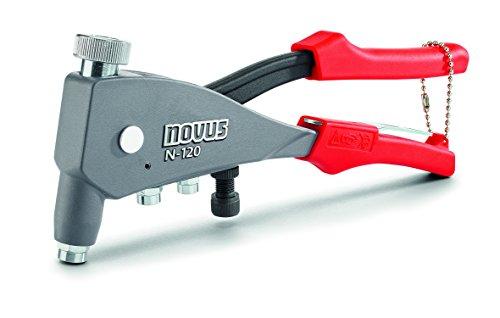 Novus Blindnietmutterzange N-120 Universal, 1-Hand-Bedienung, aus Aluminium, Integrierte Mundstücke mit Gewindedorn