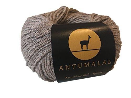 Antumalal 100% Alpaka Wolle 50g 112m Strickwolle Nadelstärke 6 Hypoallergen Luxury (braun)