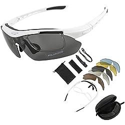 KT SUPPLY Gafas de Sol Deportivas Polarizadas TR90 incluye 5 tipos de lentes intercambiables (BLANCO)