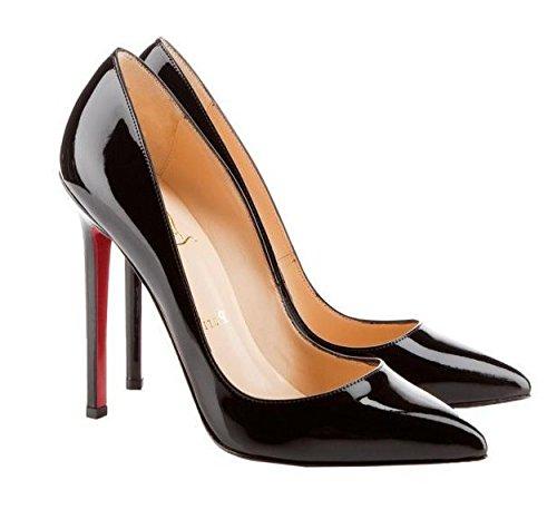 WZG Europa sexy bonbonfarbenen Lackleder spitze Schuhe flach Mund dünne Ferse Schuhe mit hohen Absätzen neue Black