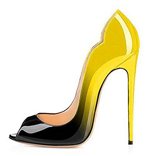 Damen Peep Toe Pumps Lack High-Heels Stiletto Hochzeit Party Rutsch Gradients Gelb