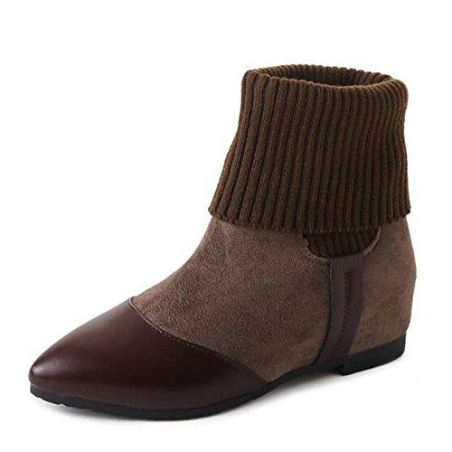 HSXZ Scarpe donna vera pelle Orlon Autunno Inverno la moda Stivali Stivali Flat Punta Mid-Calf scarponi per Casual Verde Nero kaki Green