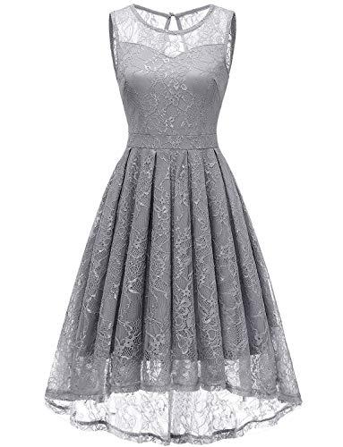Gardenwed Damen Kleid Retro Ärmellos Kurz Brautjungfern Kleid Spitzenkleid Abendkleider CocktailKleid Partykleid Grey XL