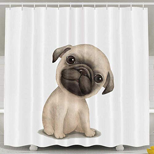 ain, Bathroom Accessories, Baby Girl Extra Long Farmhouse Country Heavy Duty Large Bath Shower Curtain Set with Rings for Men Women Kids,Cute Pug with Big Eyes White ()