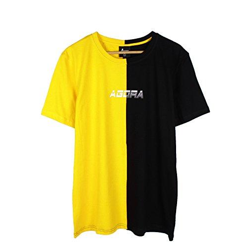 d8abbad3 Agora Fast Forward Yellow & Black Short Sleeve Split T-Shirt (X-Large