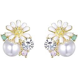 HDCooL Vintage White Flower Pearl Earrings Crystal Studs Valentines Day Gift Birthday Present for Girls Women