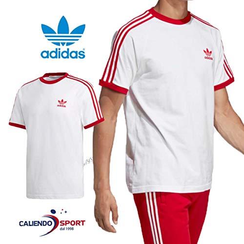 Adidas 3-stripes, t-shirt uomo, white/power red, xxl