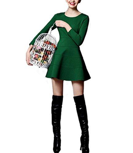Purpura Erizo Femme Robe Uni Manches 3/4 Moulant Trapèze vert foncé