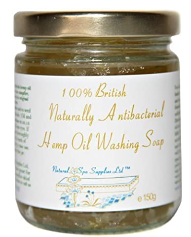 British Naturally Anti-Bacterial, Anti-Microbial Hemp Oil Face & Body Wash Soap for Sensitive, Allergy and Trouble-Prone Skin, 150g glass jar