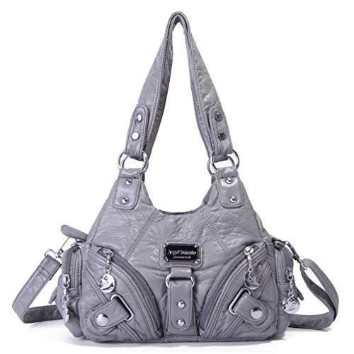 Weiche pu-Leder umhängetaschen für Frauen Freizeit einkaufen Crossbody hobo Taschen europäischen Damen Tote Handtasche Gray -