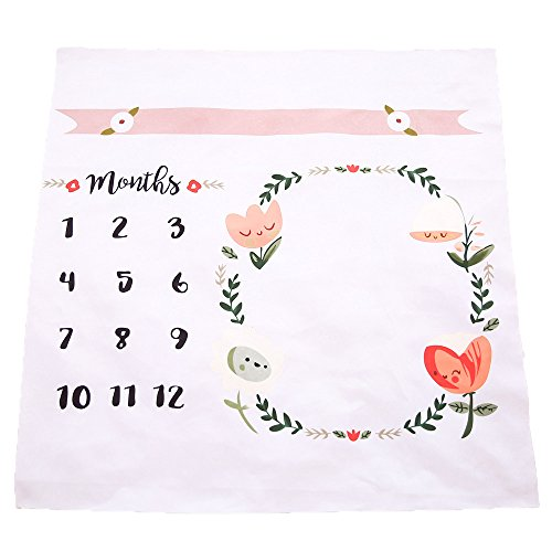 Fotohintergrund-Decke für Babyfotos, mit monatlichem Meilenstein-Druckmuster, Blumenmotiv - Baby-geschenke Mama Für Neue