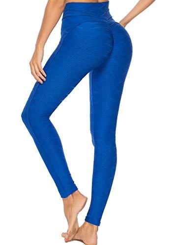 FITTOO Leggings Mallas Mujer Pantalones Deportivos Yoga Alta Cintura Elásticos y Transpirables1500#3 Azul Chica