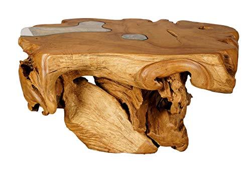 Mesa de centro de tronco de árbol con incrustaciones de cristal