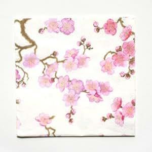 Caspari Serviettes 9020L Papier 3couches, 20pièces 33x 33cm, Pearl Plum Blossom