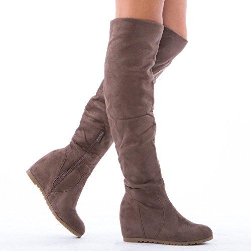 Ideal Shoes–Stivaletti con zeppa effetto camoscio Joanis Grigio