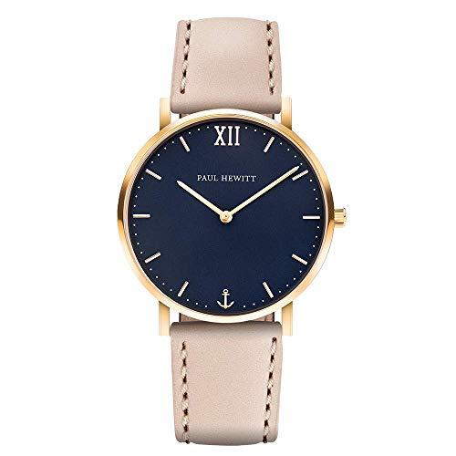 PAUL HEWITT Armbanduhr Damen Sailor Line Blue Lagoon - Damen Uhr (Gold), Damenuhr mit Lederarmband in Beige, blaues Ziffernblatt
