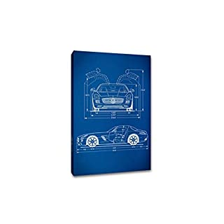 ArtsyCanvas Sports Car 2 Gearhead Blueprint Art (24 x 16 Canvas), 24