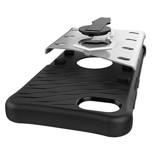 Schockresistent 360 Grad Spin Sniper Hybrid Case TPU + PC Kombietui mit Halter für Lenovo ZUK Z2 Plus by diebelleu ( Color : Silver ) Silver