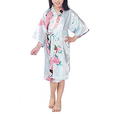 Waymoda Girls Luxury Silky Satin Evening Dressing Gown, Kids Peacock and Blossoms Pattern Kimono Robe, 10+ Color, 6-14 Year Old Sizes Optional -