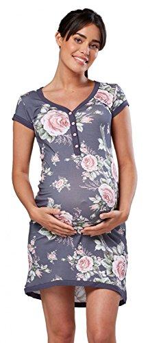 Happy Mama. Damen Umstands-Nachthemd mit Stillfunktion. Stillshirt Kurzarm. 981p (Grau und Blume, EU 36/38, M)