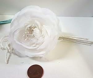 Set 11 pezzi, Bomboniera bouquet fiore stoffa x segnaposto, PORTACONFETTI (ck1292) BIANCO