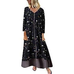 Mujer Levifun Vestidos Fiesta Largos Elegantes Tallas Grandes Vestidos Largo Mujer Bolsillos de Impresión Vestido de Fiesta Casual Playa Falda Otoño e Invierno Maxi Dress
