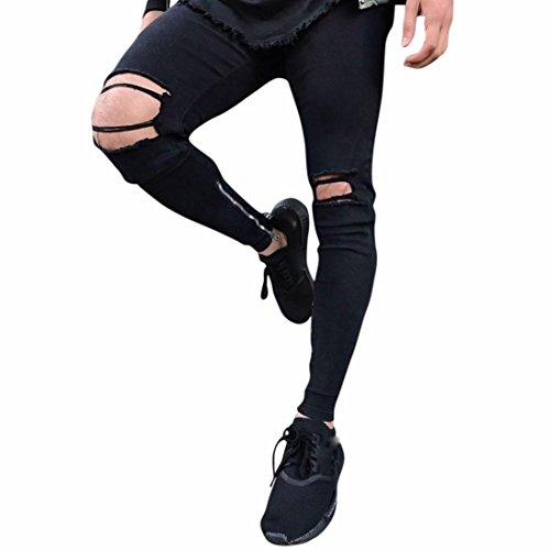 ❤️Pantalons Homme, Amlaiworld Hommes Pantalon en Denim Slim Fit Jeans Skinny Déchiré Extensible Moto Hiphop Streetwear Pantalons (36, Noir)