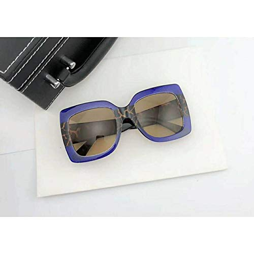 GAOHAITAO Designer Oversized Big Women Mirror Sexy Clear Sunglasses Lady Red Green Shades Crystal Sun Glasses,Blue