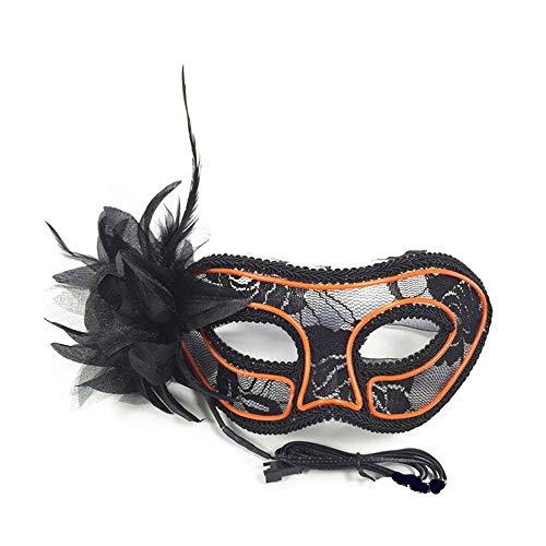 JFSKD Halloween Maske LED Prinzessin Maskerade Maske Halloween Karneval Party Kostüm Cosplay Dekoration,Orange (Prinzessin Zombie Make-up Halloween)