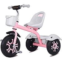 GIFT Premier Vélo 2 en 1 avec Barre De Poussée Amovible, Roue Molle Kids Tricycle Trike EVA, Siège Peut être Ajusté, Cadeau De Noël Nouvel an 2-6ans,F