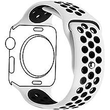 Ontube para Apple watch Correa Nike + Serie 1 Serie 2, Soft Silicona Estilo Deportivo Reemplazo para iWatch Correa M/L 42mm Blanco/Negro