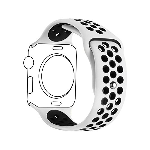 Sport Apple Watch (Ontube 42MM Soft Silikon Ersatzband mit Bel¨¹ftungsl?chern f¨¹r Apple Watch Armband Serie 3 Serie 2, Serie 1, Sport, Edition, M/L Wei?/schwarz)