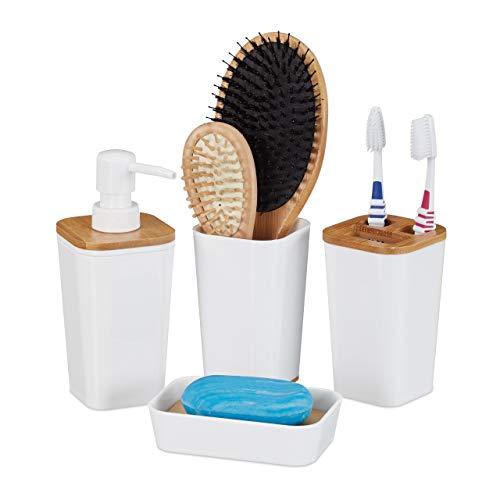 Relaxdays Badaccessoires Set, 4 teilig, modern, Zahnputzbecher, Seifenschale & Seifenspender, Kunststoff & Bambus, weiß