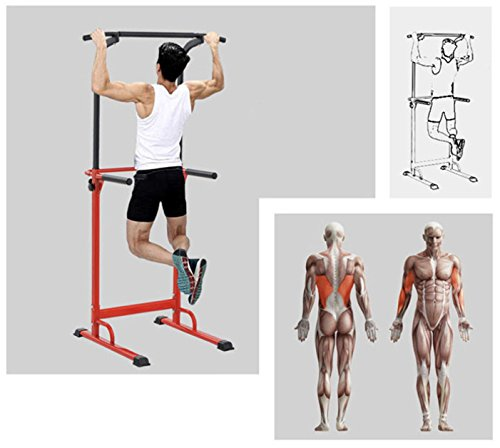 PullUp Fitness Barre de Traction Ajustable Station Musculation Dips Station Chaise Romaine (Rouge) 6