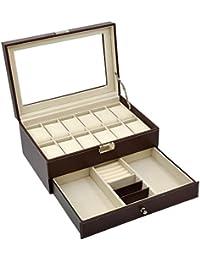 Autoark Leather 12 Mens Watch Box with Jewelry Display Drawer Lockable Watch Case Organizer,Brown,AW-U03