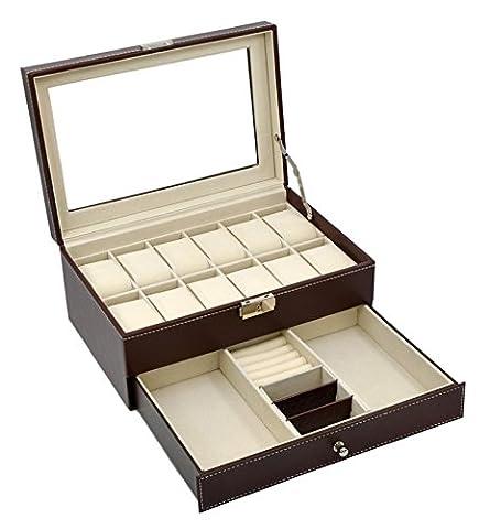 Autoark Brown Leather 12 Mens Watch Box with Jewelry Display Drawer Lockable Watch Case Organizer,AW-U03