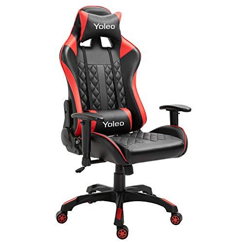 YOLEO Gaming Stuhl, bequemer Gaming Sessel 150 kg Belastbarkeit, Kunstleder PC Stuhl drehbar höhenverstellbar Gaming Chair mit Kopfstütze (Rot-Pro)