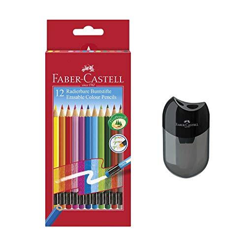 Faber-Castell 116612 Radierbare Buntstifte mit Gummitip, 12er Kartonetui (12er + Doppelspitzer)