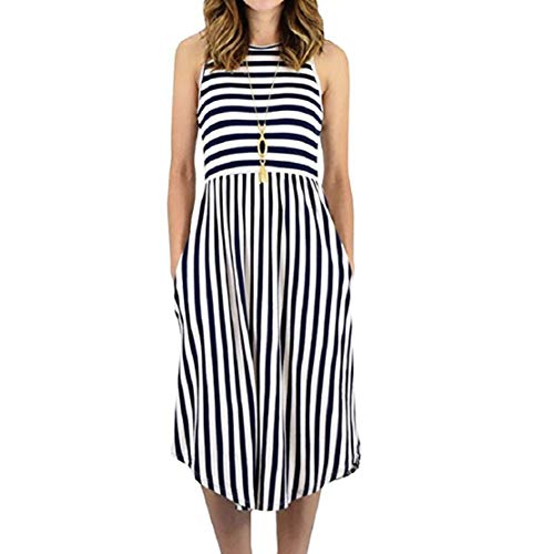 Go First Frauen Sommer ärmellose gestreifte Flowy Casual Lange Maxi-Kleid Casual Beach Dress mit Taschen (Color : Dark Blue, Size : US Size XS = Tag M)