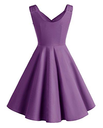 Bridesmay Women's Vintage Dresses 1950s A-line Retro Swing Party Dress Purple 2XL