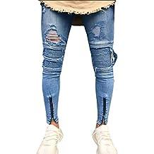 Luckycat Herren Ripped Skinny Biker Jeans Destroyed Ausgefranste Slim Fit  Denim Hosen Mode 2018 f4fc4661a3