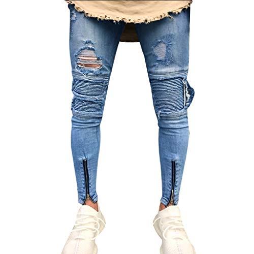 Luckycat Herren Ripped Skinny Biker Jeans Destroyed Ausgefranste Slim Fit Denim  Hosen Mode 2018 5070ce2d09