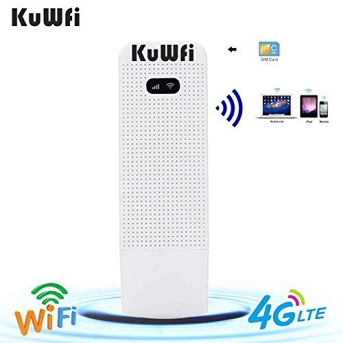LTE Surfstick, KuWFi 100Mbps 4G LTE beweglicher Wifi Fräser 4G / 3G / 2G USB WiFi Fräser Mobiler drahtloser Netz-Hotspot mit SIM Einbauschlitz Unterstützung FDD B1 / B3 / B5 / B7 / B8 / B20 im Freien und Innen auf dem Bus oder im Auto (SIM Karte nicht eingeschlossen, Müssen Sie in lokalen kaufen)