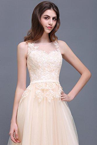 Damen Elegant Spitze Tüll Brautjungfernkleid Hochzeit Abendkleid Ballkleid lang 32-46 Royal Blau