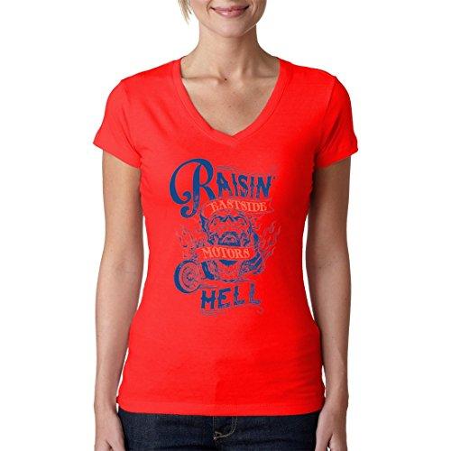 Biker Girlie V-Neck Shirt - Raisin Hell by Im-Shirt Rot