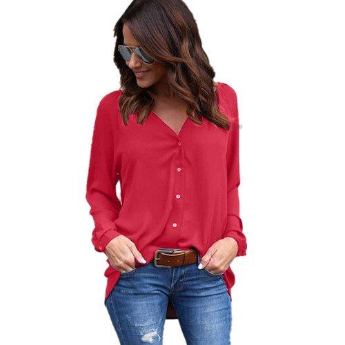 Camisa de mujer Lonshell - Blusa suelta de manga larga para mujer, blusa casual de gasa, hombre, Rojo 2, medium