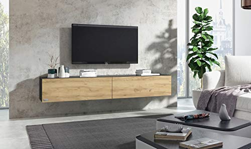 Wuun® 240cm/Sonoma-Eiche (Korpus Matt Schwarz)/8 Größen/5 Farben/TV Lowboard TV Board hängend Hängeschrank Wohnwand/Somero