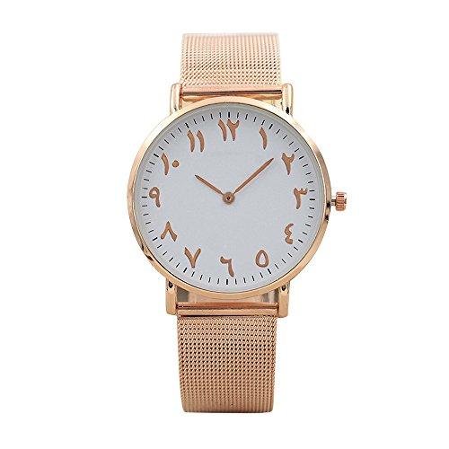 Altes arabisches Digital-Zifferblatt - Mesh Armband Uhren, Holeider Herren und Damen Klassisch Analog Quartz Edelstahl Uhr Armbanduhr (Rose Gold)