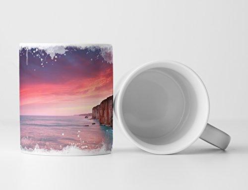 Eau Zone Fotokunst Tasse Geschenk Landschaftsfotografie – Sonnenaufgang am Atlantik Frankreich