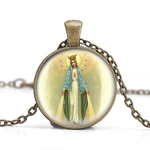 Collar con colgante de medalla de Virgen María, joyería de cristal, joyería para fotos